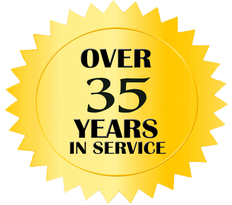 over 35 years in service